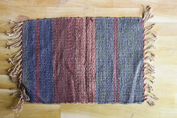 Handwoven Jute Rug, Jute Dhurrie, Handmade Rug, Small Mat, Minimalist Design, Stripes, Small Rug, Traditional, Modern, FREE SHIPPING