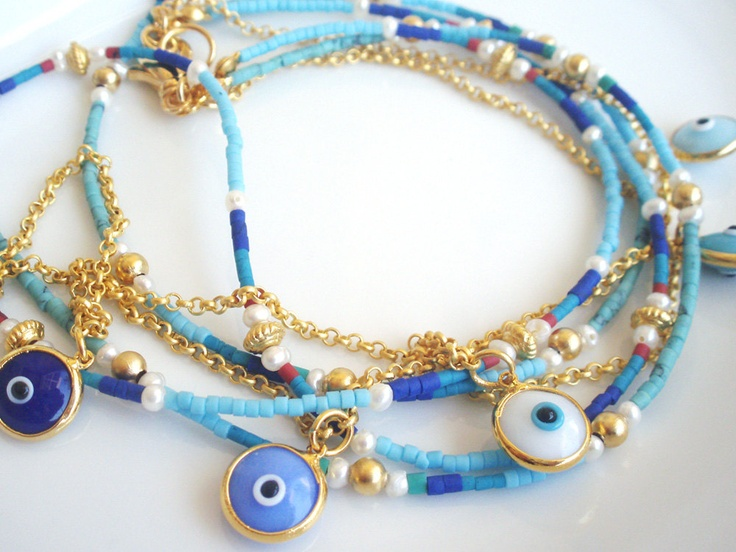 Turkish Evil Eye Lucky Charm Layered Necklace by LylaAccessories, $54.00