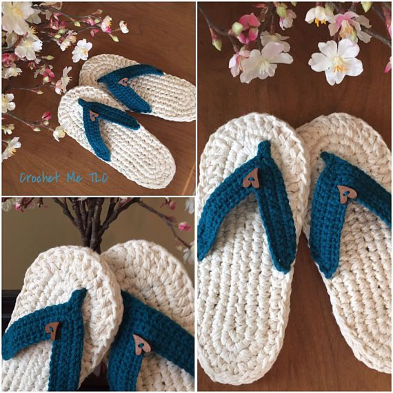 This listing is for one pair of flip flop slippers. ♥ Item will be made especially for you, so please check my Shop Policies or contact me to see the current waiting time ♥ 100% cotton sole and 100% Acrylic Strap. Reinforced in between the two soles with plastic mesh and a cotton