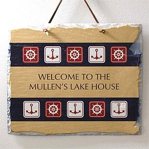 This Personalized Nautical Slate Sign with the Sailing Theme (on sale for only $23.05) is beautiful! It would look so beautiful in your summer home! #Nautical #Boat #LakeHouse #SummerHouse: Boats Lakeh, Signs Ideas, Ideas Boards, Decor Ideas, Gifts Ideas, Ideas Gifts, Slate Signs, Nautical Slate, Nautical Boats