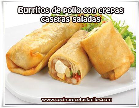 Burritos de pollo con crepas  caseras saladas