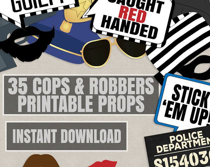 35 Cops and Robbers Party Props, Police party theme photo booth props, mugshot sign printable, police photobooth party diy, instant download