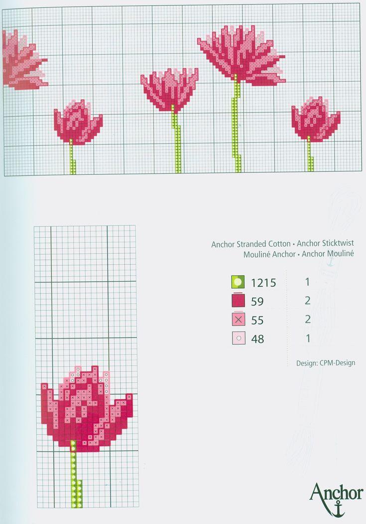 Pink Flower Motif (part 2) free cross stitch pattern from www.coatscrafts.pl