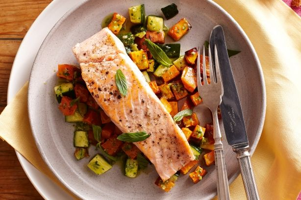 Salmon is the star attraction of this very tasty dinner recipe.