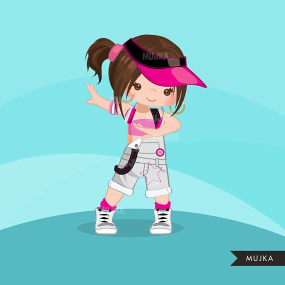 Hip Hop Dancer Girls Clipart Break Dance Rapping Characters Etsy Hip Hop Dancer Break Dance Hip Hop Party