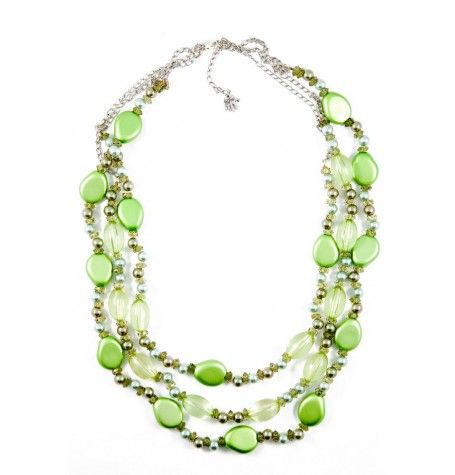 Simply beautiful, this 3 strand soft metallic bead blended with crystals and pearls. $28
