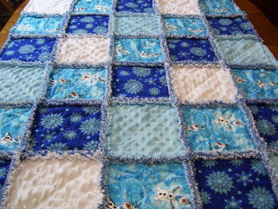 Frozen Rag Quilt Olaf Rag QuiltBaby Rag by stitchinawayboutique
