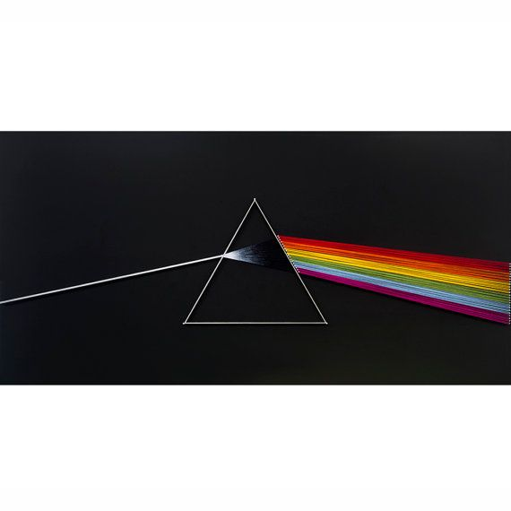 This string art piece is inspired by the Pink Floyd album The Dark Side of the Moon (1973).  ITEMS MEASUREMENTS: Dimensions: 31.5 x 15.7 / 80cm x 40cm (Width x Height) Weight: ~ 4.4 pounds / 2kg  MATERIALS: All materials used are eco-friendly, while I never use spray paints or other toxic materials. All of my pieces are painted at all sides by hand, using top quality acrylic colors and brushes. For my creations I use galvanized steel nails (which means that they are protected from humidity…