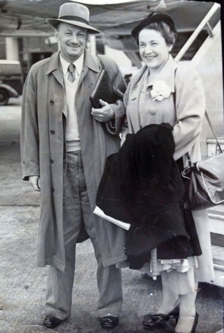 Sir Don and Lady Bradman - Don & wife Jessie arriving at Heathrow Airport from Sydney for the 1953 Australian tour of England