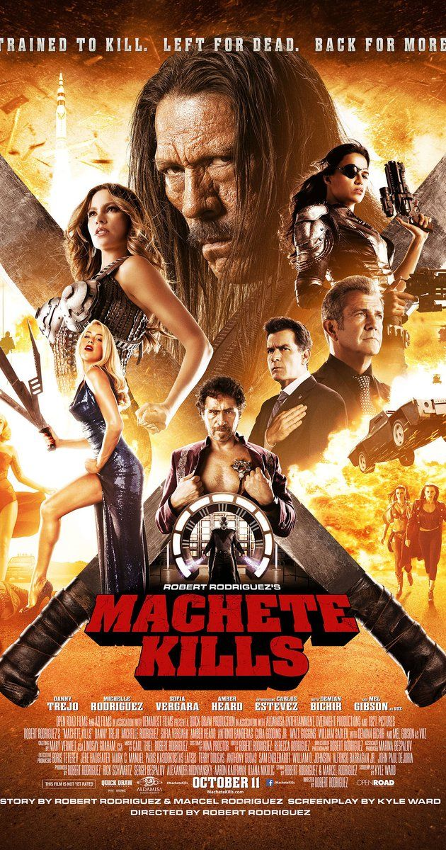 Directed by Robert Rodriguez.  With Danny Trejo, Alexa PenaVega, Mel Gibson, Jessica Alba. The U.S. government recruits Machete to battle his way through Mexico in order to take down an arms dealer who looks to launch a weapon into space.