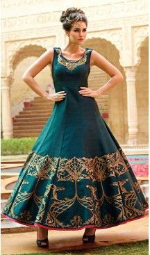 Greenish Blue Color Bhagalpuri Silk Party Wear Style Readymade Gown | FH553582666 Follow Us @heenastyle << #textilefashion #onlineshopping #onlineshop #shopping #fashiongown #fashionista #fashionlover #fashiongown #gowns #dress #dresses #textiledress #hautecouture #couturedress #couturefashion #usa #style #stylish #promdress #eveningdress #eveninggown #design #heenastyle