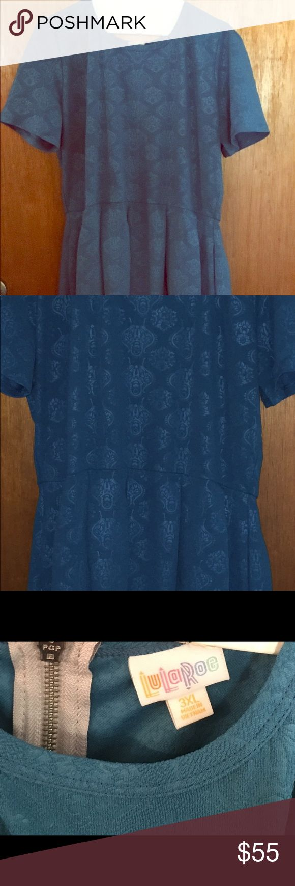 Lularoe Amelia dress 3x EUC Amelia dress in excellent condition. Worn once only and washed via lularoe standards. Jacquard fabric in dark teal color. LuLaRoe Dresses