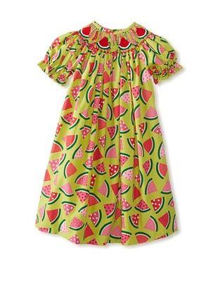 64% OFF Vive La Fete Kid's Smocked Watermelon Bishop Dress (Green Multi)