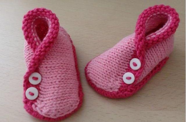 Patrones Crochet: Zapatitos Kimono Bebe Tejidos con 2 Agujas