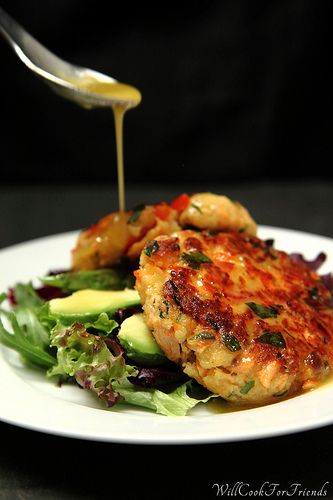 Salmon Cakes with Honey Mustard Vinaigrette | Add this delicious dish to a your cook book recipes.