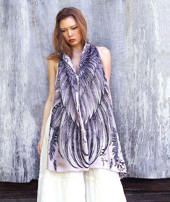 Geometrische sjaal Angel Wings sjaal witte sjaal bruids door Shovava