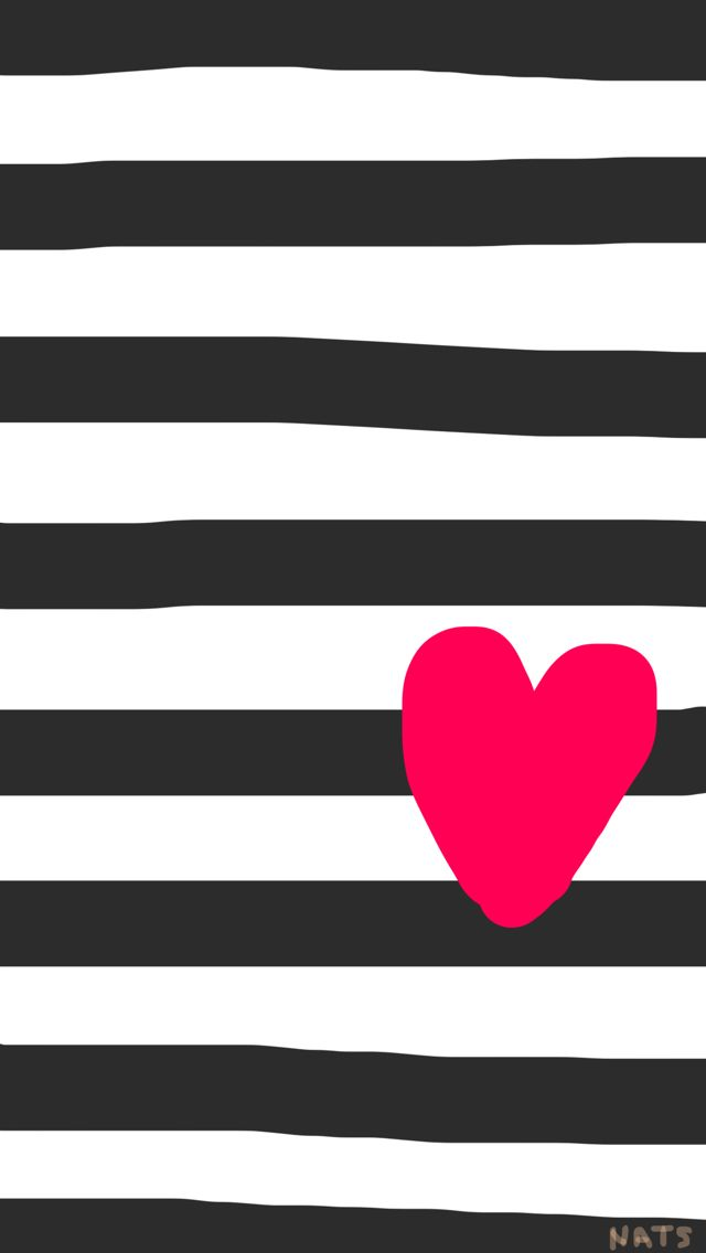 black and white stripes with a heart wallpaper