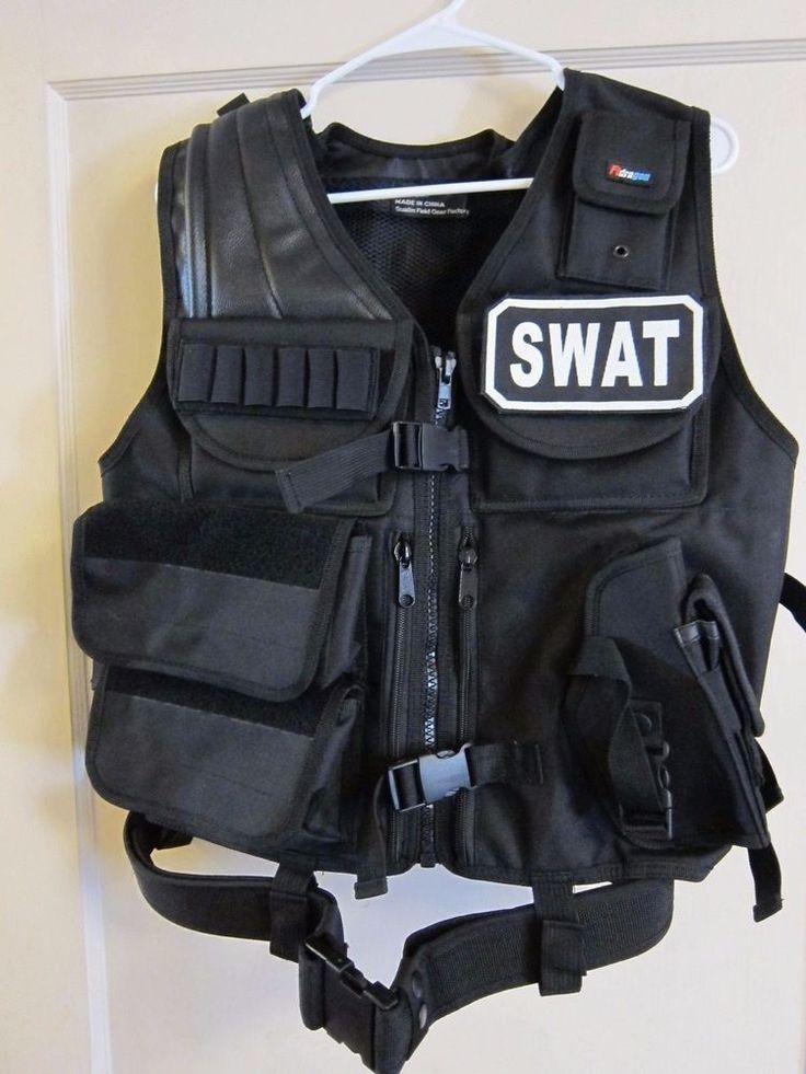 swat police vest halloween costume airsoft paintball tactical bulletproof lot 2 - Halloween Bullet Proof Vest