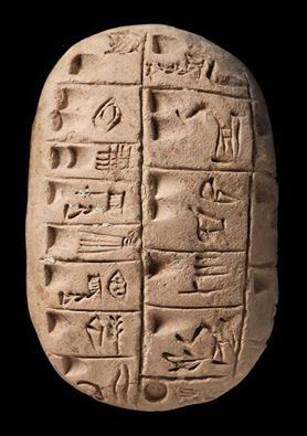 ca. 3,200 BCE. Sumerian Tablet, Uruk. an intermediate form of writing with pictographs, a grid and wedges for numbers  which later developed into cuneiform in Mesopotamia.