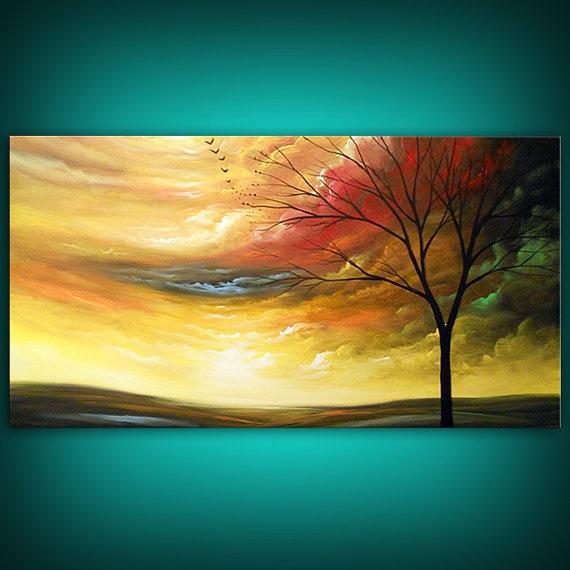 art abstract Original painting art original acrylic painting yellow painting cloud tree sunset 24 x 48 Mattsart. $298.00, via Etsy.