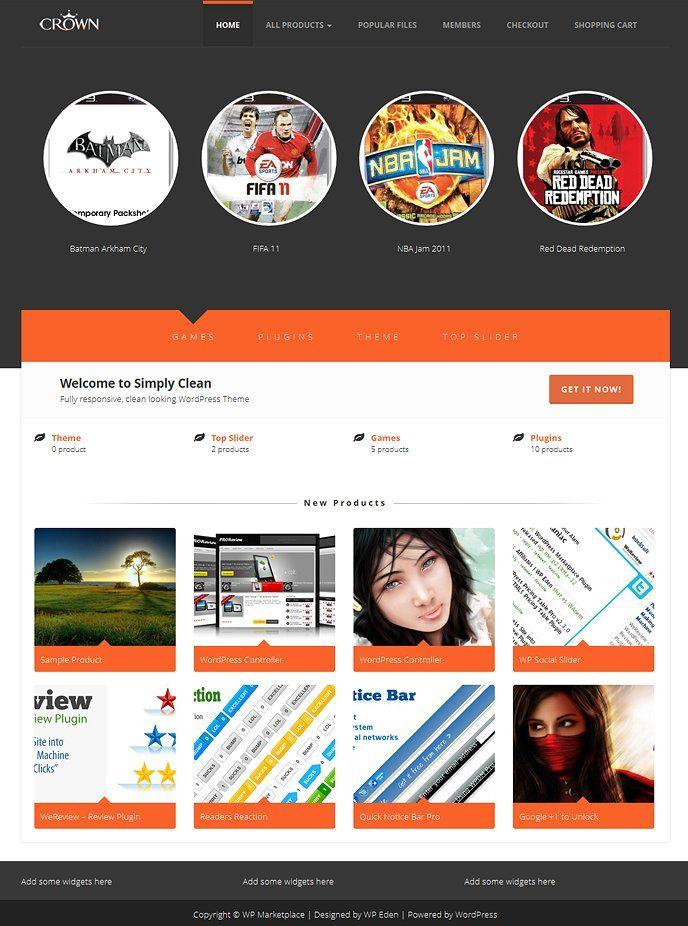Crown Wp Marketplace Theme Wordpress Ecommerce Theme Website Template Design Theme