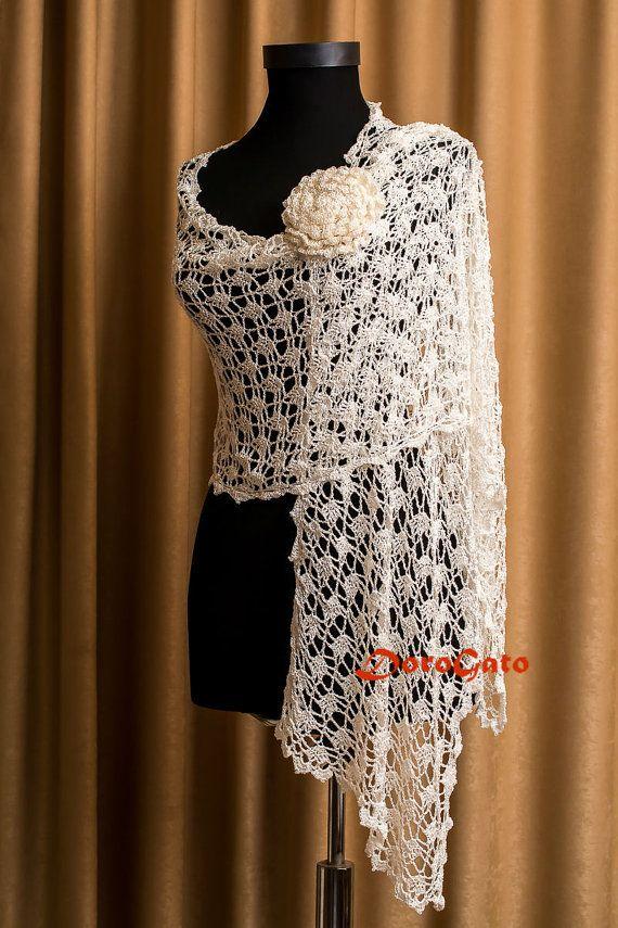 Bridal Shawl, Wedding Shawl, Ivory Crochet shawl, Bridal Cover up, lace shawl, Unique Design, cream wraps shawls, Bolero, bridal Shrug