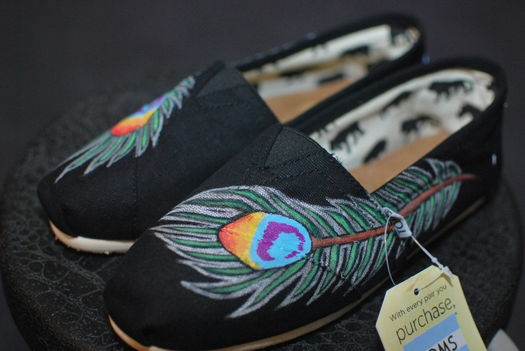 Peacock feather TOMS by BStreetShoes on Etsy, $149.00