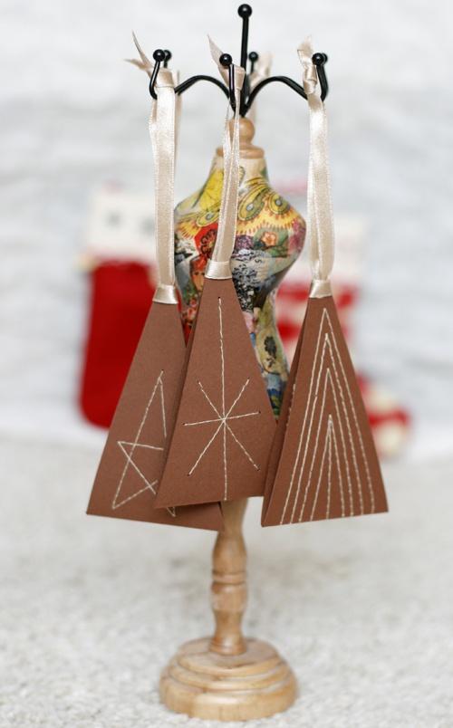 Masni Dekoráció - hímzett karácsonyfa dísz / sewed christmas tree ornaments made from paper