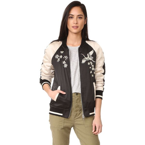 Pam & Gela Bomber Jacket (3,200 MXN) ❤ liked on Polyvore featuring outerwear, jackets, fleece-lined jackets, zip jacket, bomber jackets, embroidered jacket and flower bomber jacket