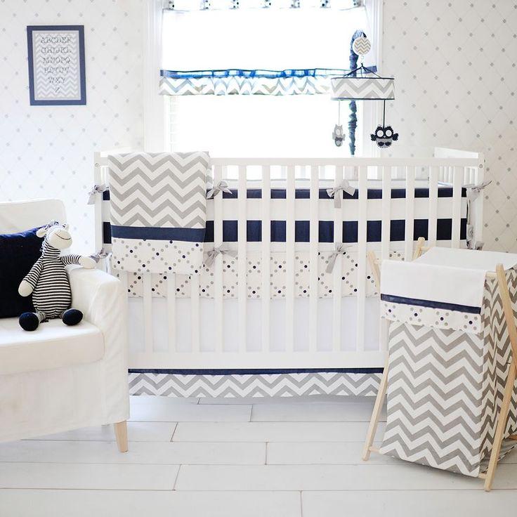 Oh Boy! Blue Gray White Chevron Crib Bedding Set