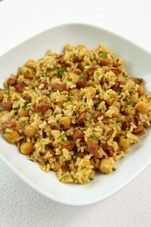 Chickpea, Chorizo (sub soyrizo) and Brown Rice Pilaf