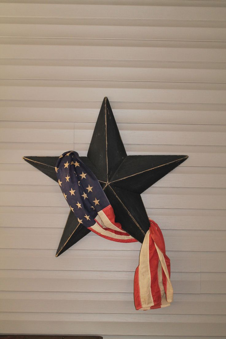 Rustic Star with draped american flag