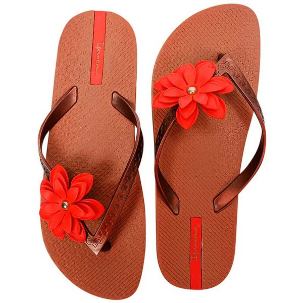 Brown & Red Ipanema Neo Flora Style Flip Flops ($25) ❤ liked on Polyvore featuring shoes, sandals, flip flops, ipanema sandals, red strappy sandals, wide strap sandals, red patent leather sandals and red shoes
