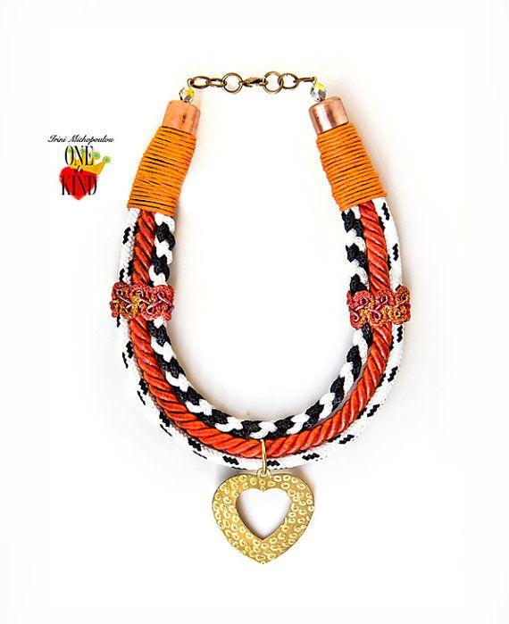 Triple heart  rope necklacebrass pendantheart by irinimichopoulou