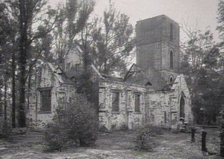 Boydtown chuch before the roof was destroyed by bush fire