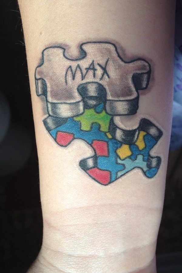 Autism Tattoo for Son - Cool Puzzle Piece Tattoo Design Ideas, http://hative.com/cool-puzzle-piece-tattoo-design-ideas/,