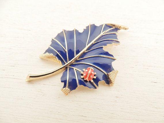 vintage cobalt blue leaf ladybug. brooch. WHIMSICAL LEAF.Whimsical Leaf, Leaf Ladybugs, Blue Leaf