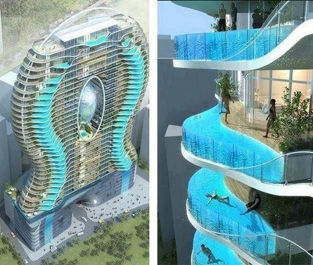 Swimming Pool. Appealing Contemporary House with Unique Pool Concepts: Amazing Unique Pool Concepts Bandra Ohm Residential Tower In Mumbai India With Perfect Ideas And Shape Design ~ wegli
