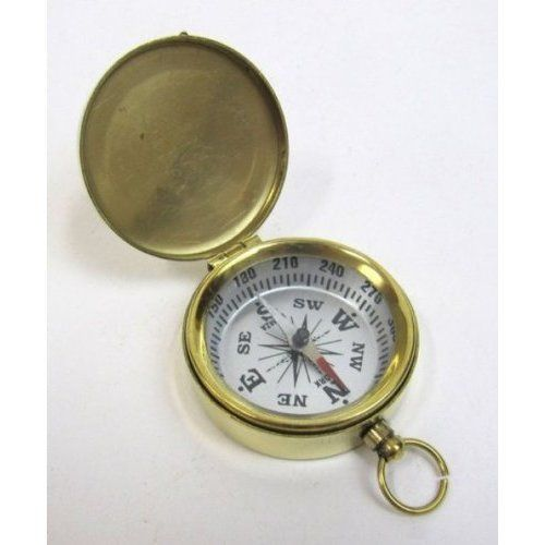 Brass Pocket Compass with Lid and White Dial (Brass Pocket Compass with Lid White Dial), Gold