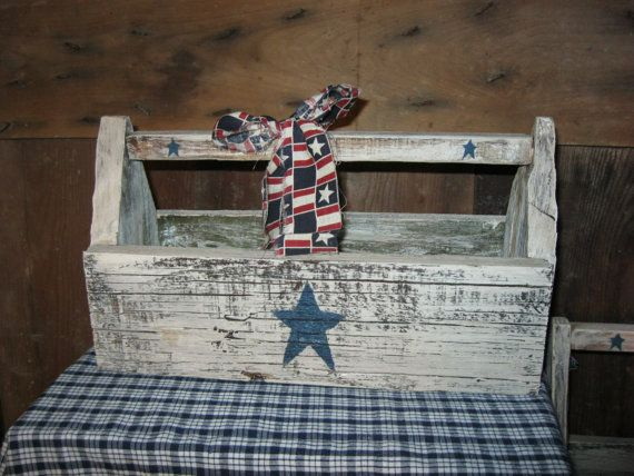 Primitive Americana Wood tool box by DedesCountryCrafts on Etsy, $18.99