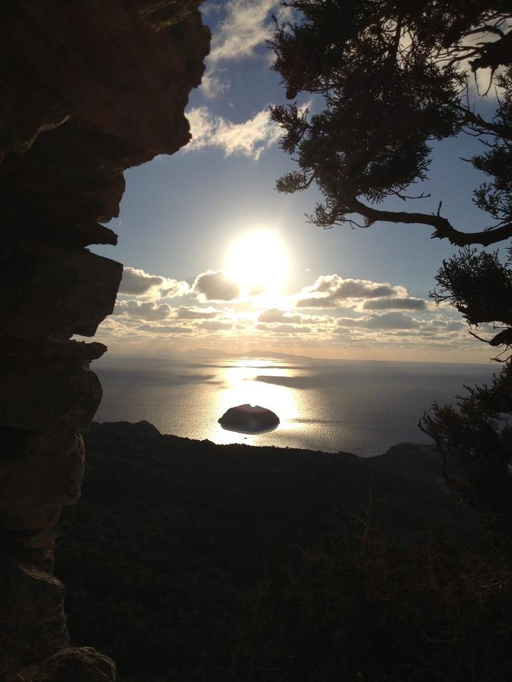 Monolithos. Sky sea & sun.