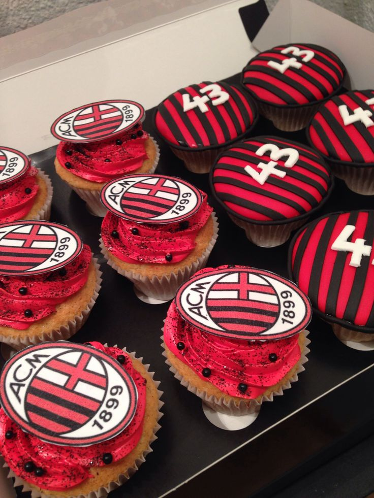 AC Milan Cupcakes made by sweetsabbys www.sweetsabbys.com www.facebook.com/sweetsabbys