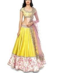 Buy Yellow embroidered cotton unstitched lehenga choli lehenga-choli online