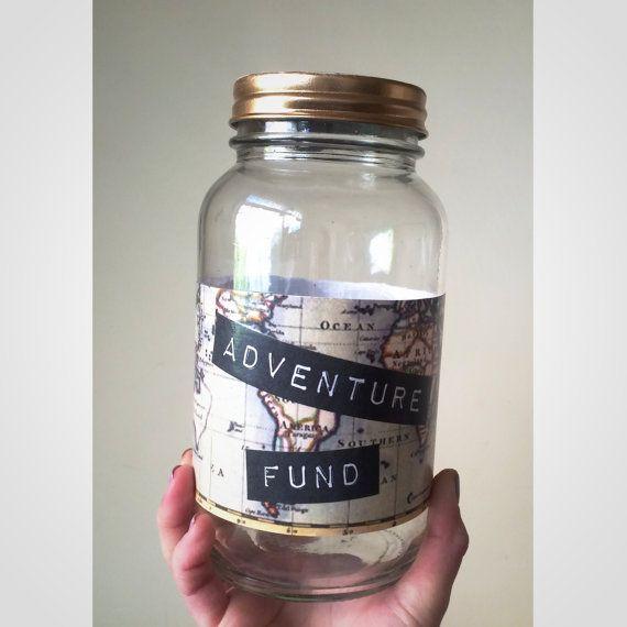 Verre piggy bank à commencer à épargner pour le voyage, bocal en argent verre personnalisé fait un cadeau de vacances voyage grand, jar vacances voyage à la main.