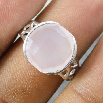 925 Sterling Silver Rose and Pink colour Quartz Stone for Women