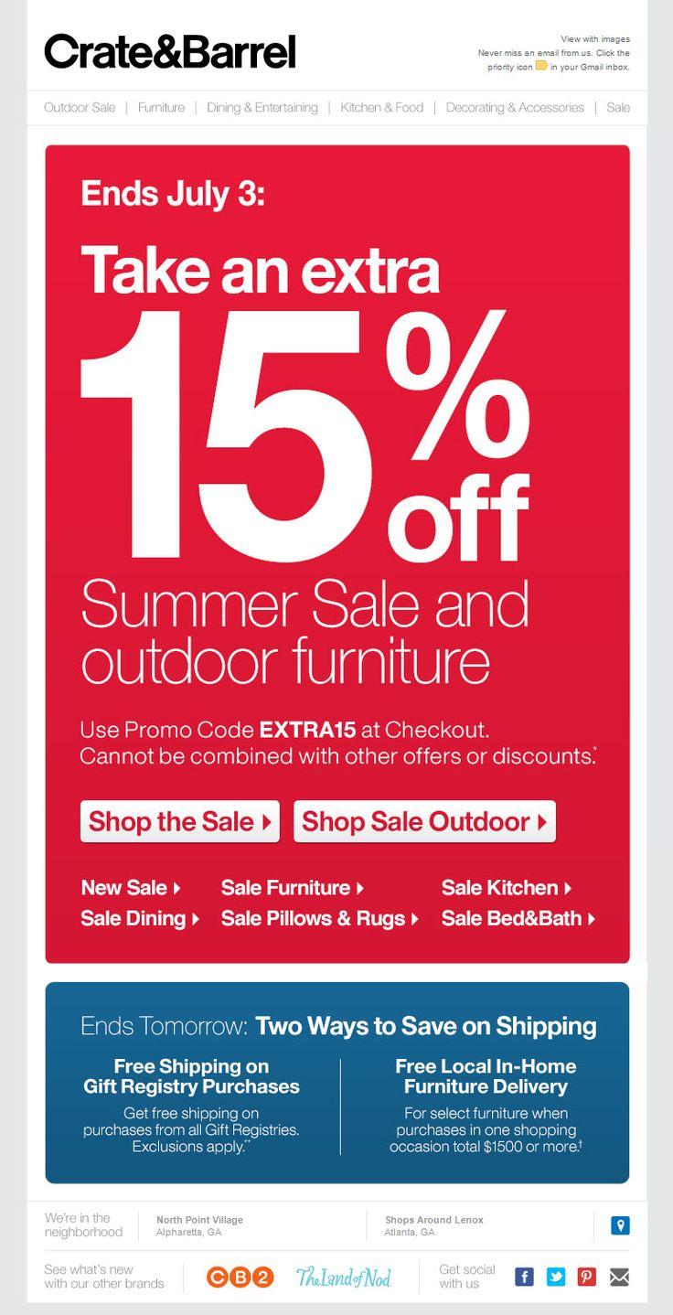 Crate and barrel outdoor furniture sale - Crate Barrel Sent 6 29 13 Active Subscriber Version