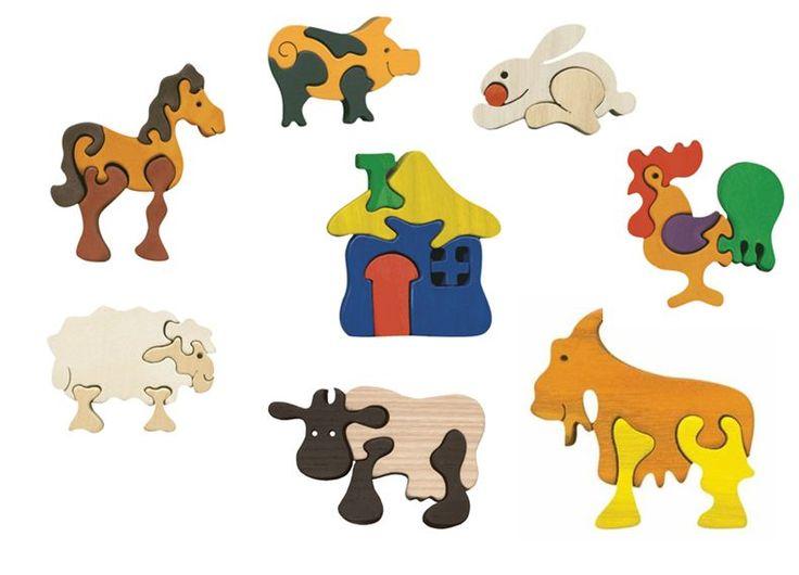 Puzzles animaux de la ferme en bois. Puzzles écologiques et déco ! 2cm d'épaisseur pour chaque pièce !