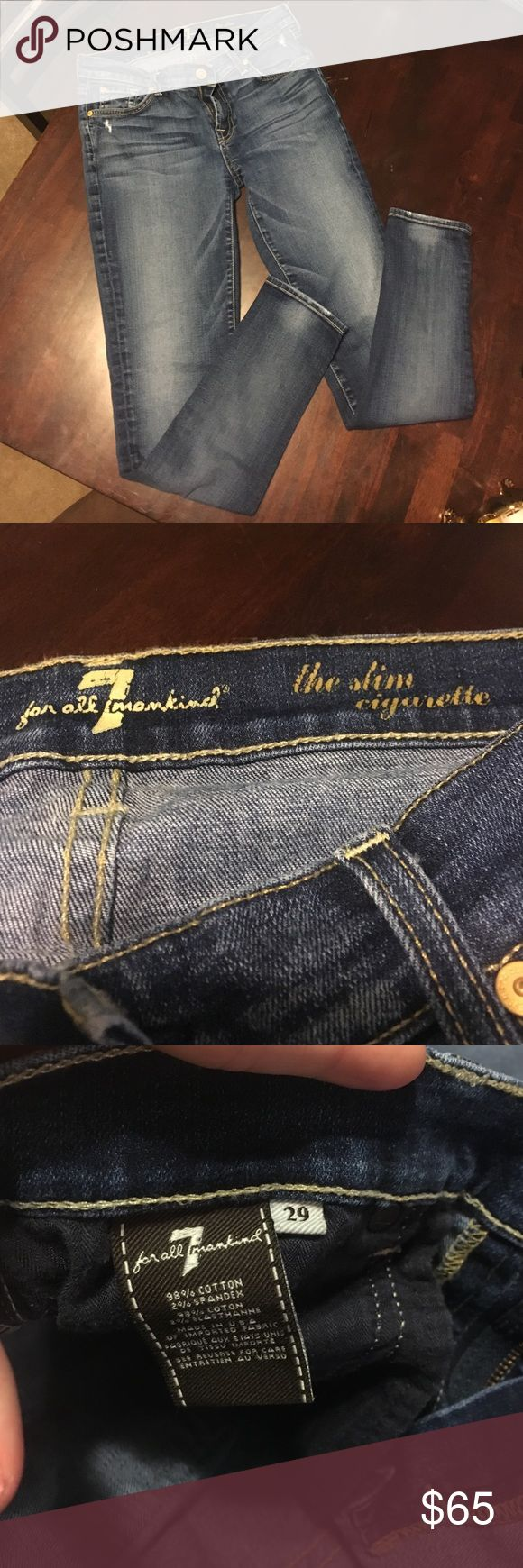 7 for all mankind slim cigarette jeans! 7 for all mankind slim cigarette jeans! Really really cute jeans!! Size 29 7 For All Mankind Jeans Skinny