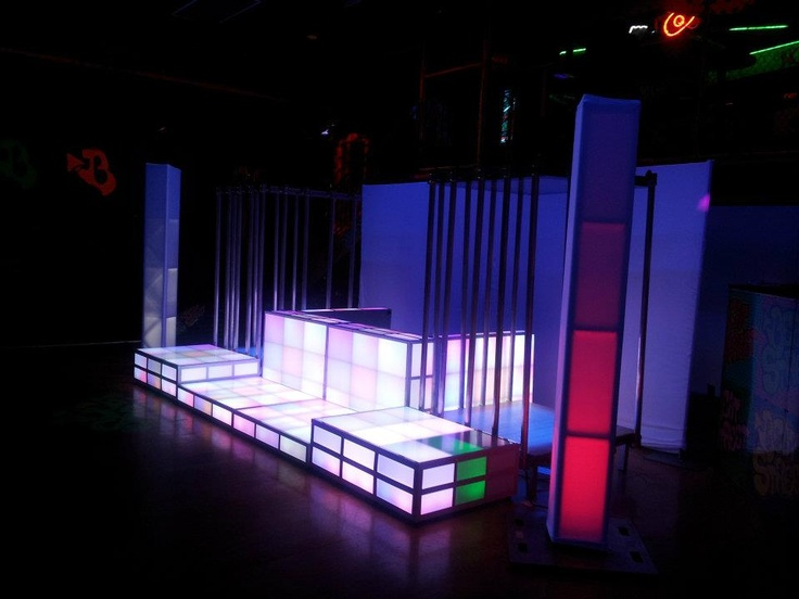Led Dj Booth With Multi Level Dance Staging Curtained