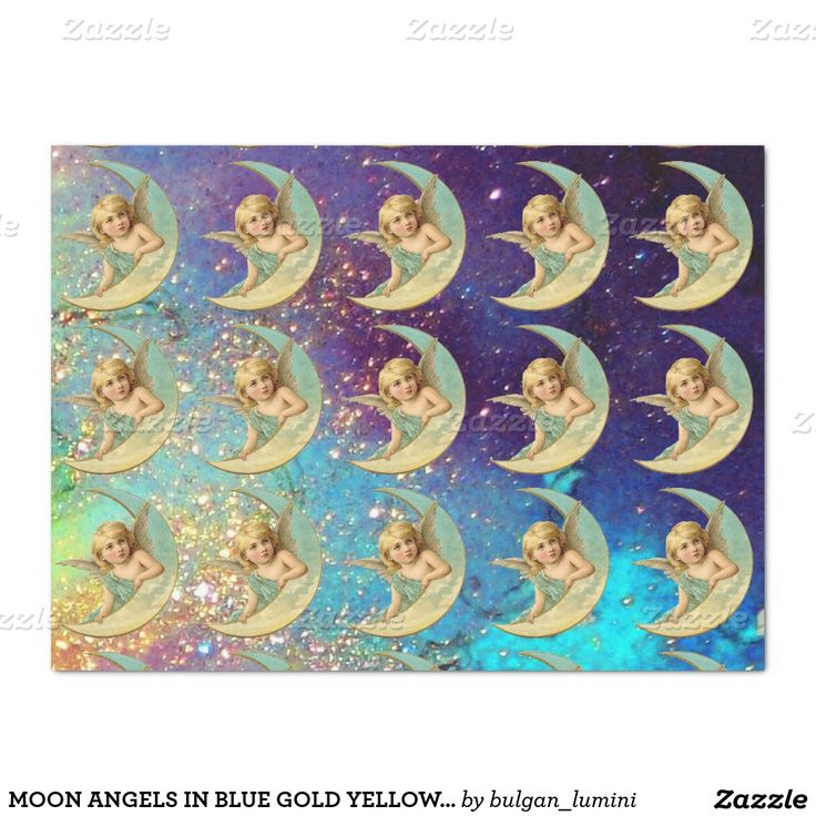 "MOON ANGELS IN BLUE GOLD YELLOW SPARKLES 17"" X 23"" TISSUE PAPER"